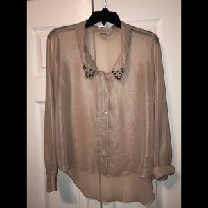 Decree blush pink sheer top, beaded collar
